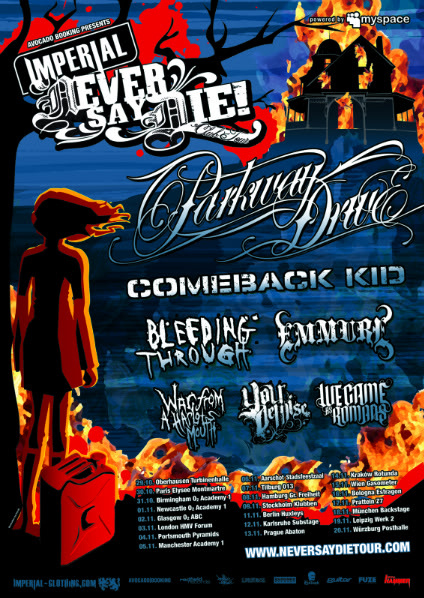Tour Flyer for Never Say Die Euro Tour With Comeback Kid and Parkway Drive