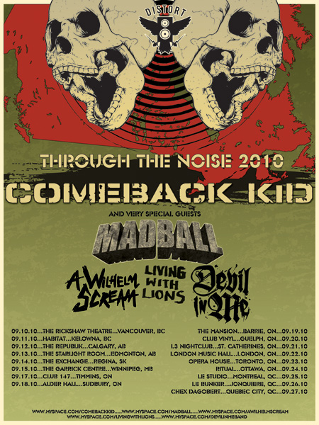 Comeback Kid Flyer for Through The Noise Tour 2010