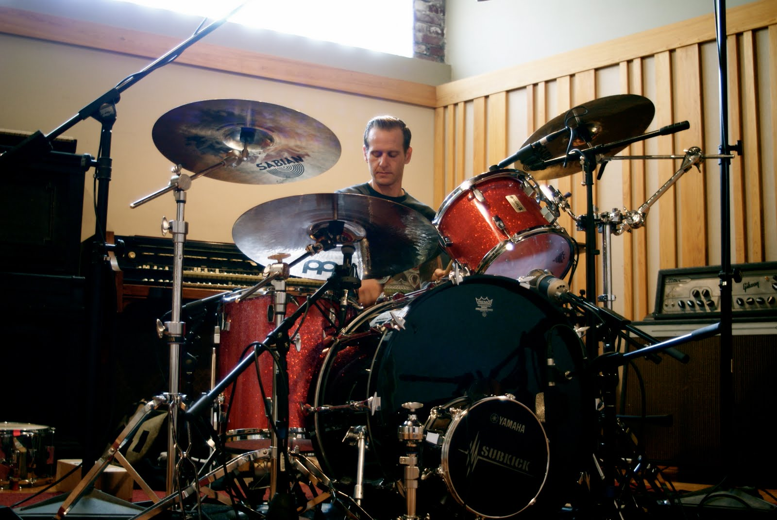 Trap Them's Chris Maggio tracking drums at God City Studios