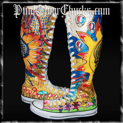 Custom Knee High Chucks by MAG at PunkYourChucks