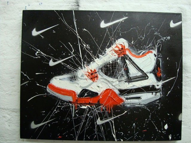 Dave White Nike Sneaker Oil Painitng
