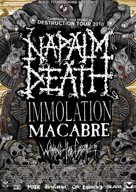 Napalm Death Euro Tour Poster with Immolation and Macabre