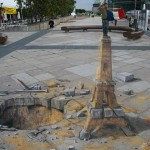 Julian Beever - Eiffel Tower Sand Sculpture