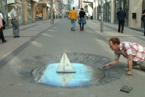 Julian Beever - Push the Boat Out