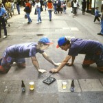 Julian Beever - Self Portrait of the Artist With Liquid Refreshment