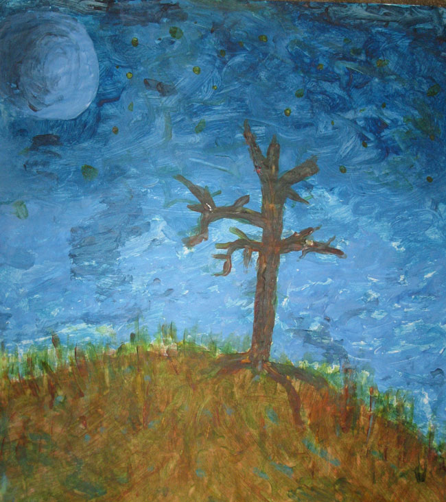 Darrell Kinsel - Tree Painting (Melted Crayon)