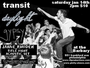 Tranist, Daylight Record Release Philadelphia, PA Jan 14, 2012