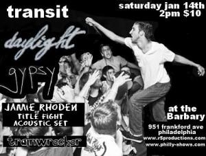 Tranist, Daylight Record Release Philadelphia, PA Jan 14, 2012