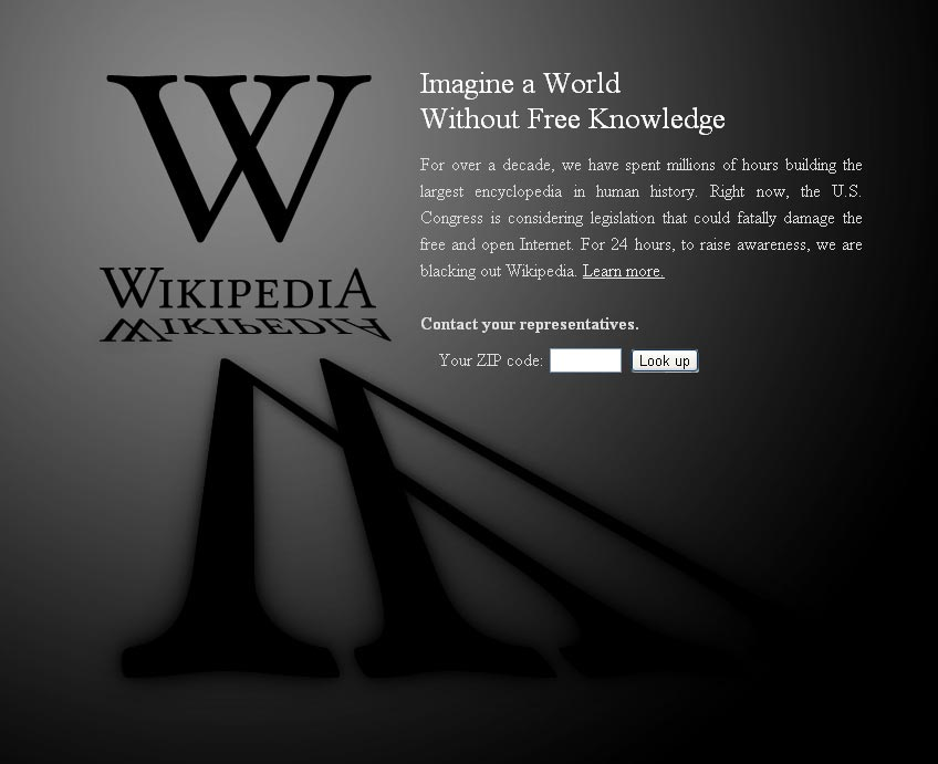 Wikpedia - Blackout in Protest of Internet Censorship