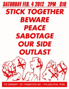 Stick Together, Beware, Peace, Sabotage, Our Side, Outlast, Clear Show Flier
