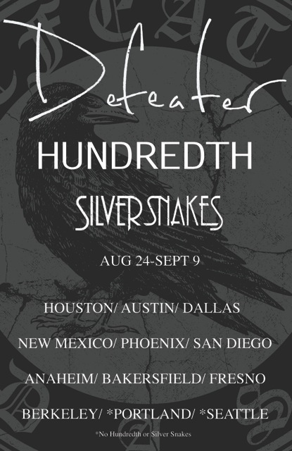 Defeater, Hundedth, Silver Snakes West Coast US Tour 2012