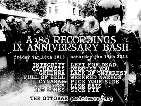 A389 Records IX Anniversary Bash with Catharsis and Integrity