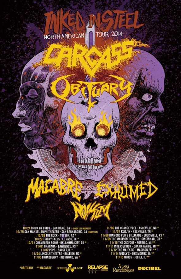 carcass, obituary, tour 2014