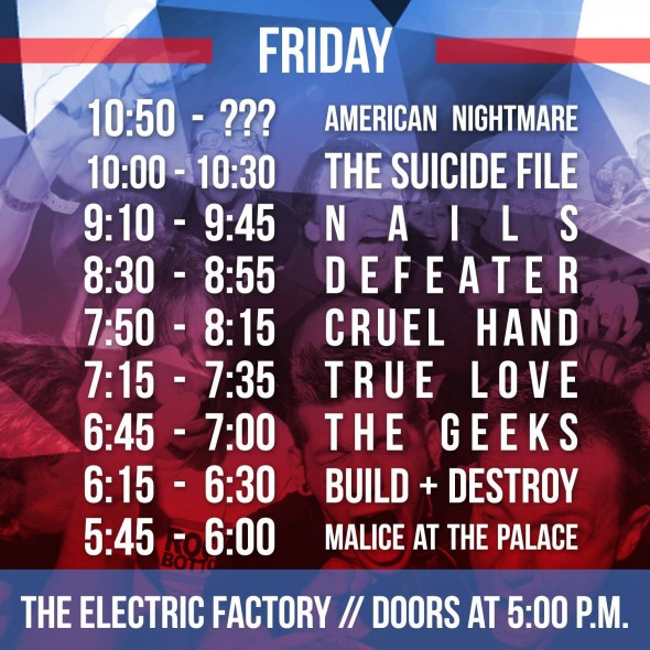 TIH X Friday Set Times