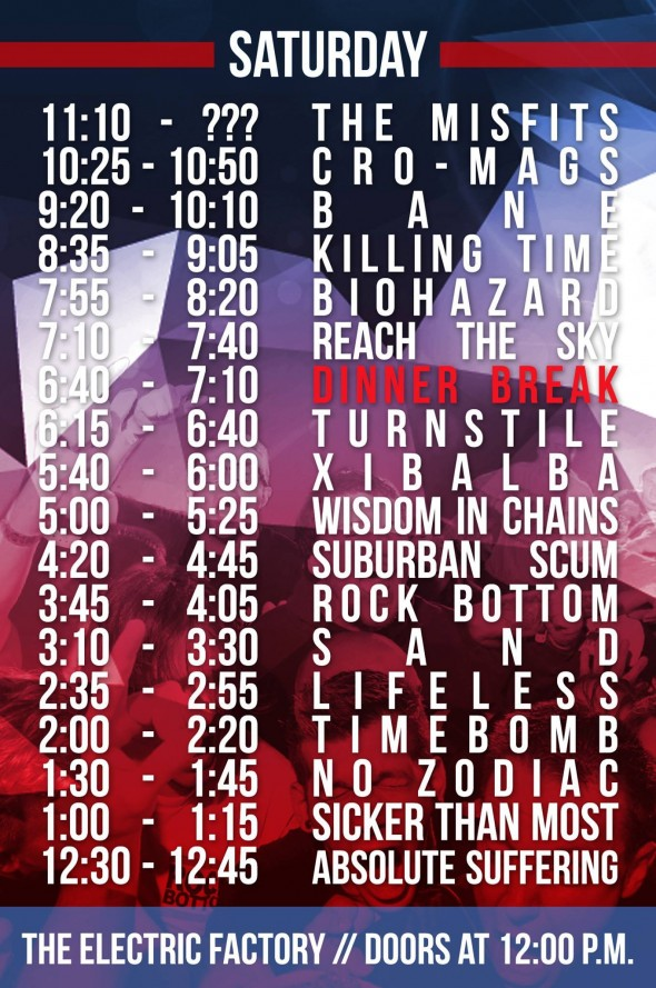TIH X Saturday Set Times