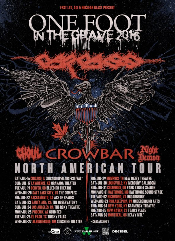 carcass usa tour 2016