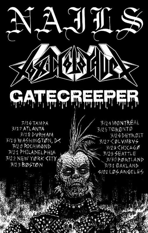 nails, toxic holocaust, gatecreeper tour 2017
