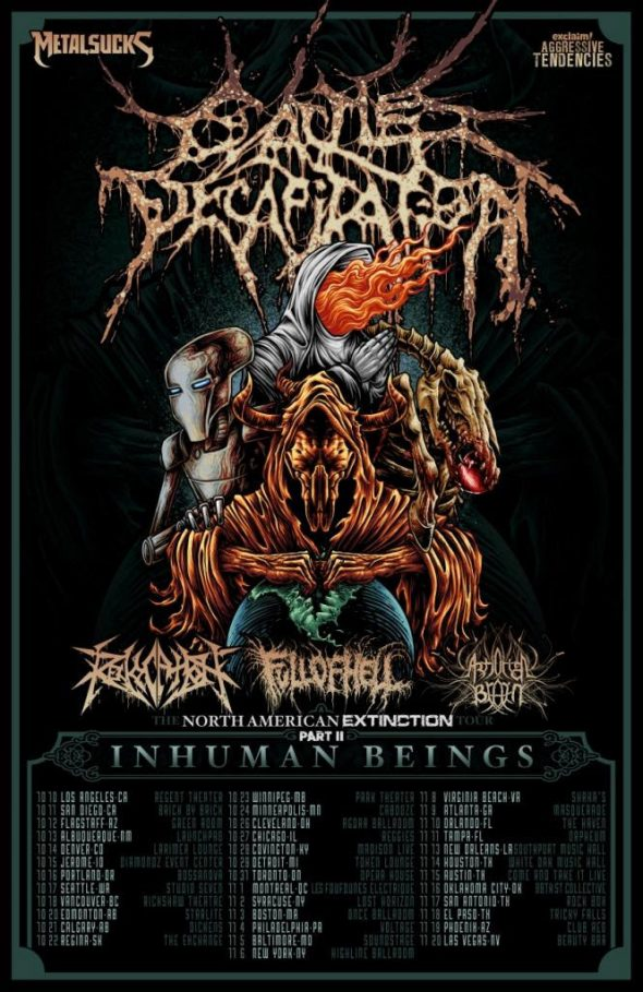 cattle decapitation, revocation, full of hell, artificial brain tour