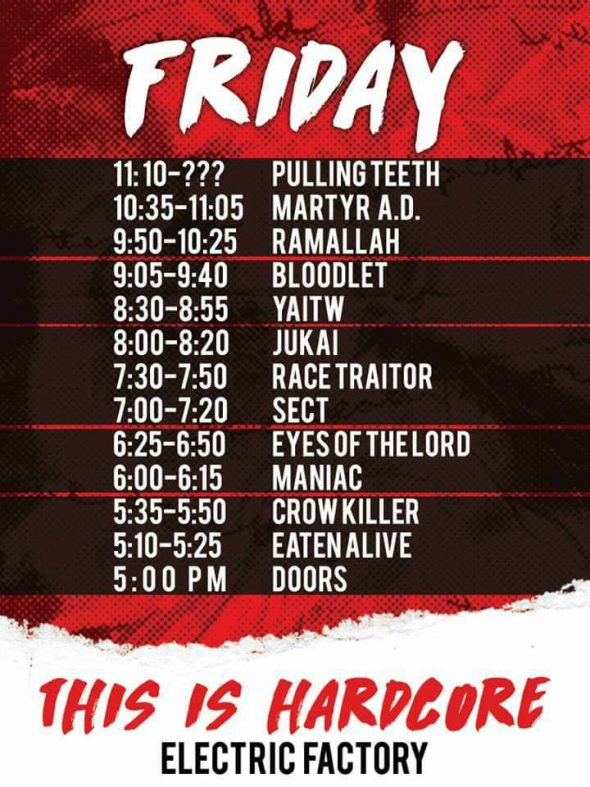 Friday TIH 2017 set times