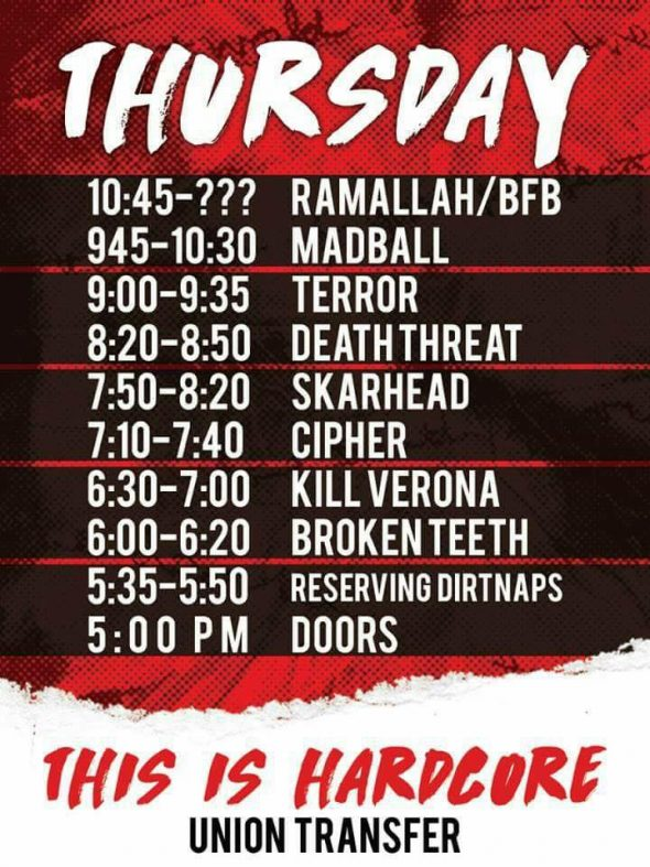 thursday set times TIH 2017