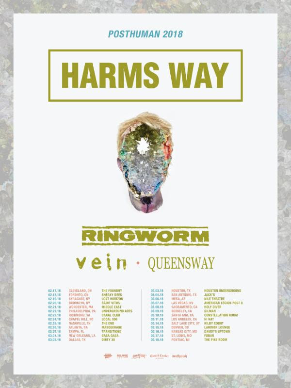 harms way, ringworm, vein tour 2018 poster